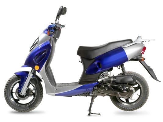 Blue and silver moped on a white background