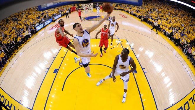 The Warriors and guard Klay Thompson enjoy a boisterous home-court advantage at Oakland's Oracle Arena, but are slated to move to San Francisco in 2018.