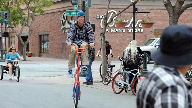 """Rick Hill from Los Angeles just happened to be in town with his custom-built """"Pennyfreak Thing"""" cycle. The fifth annual Burrito Bike Ride took off on Sunday for a slow tour of the city of Salinas."""