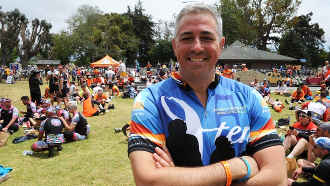 Salinas native Patrick Gunn, photographed on Monday, June 6th at the 2016 AIDS/LifeCycle ride lunch stop in Central Park.