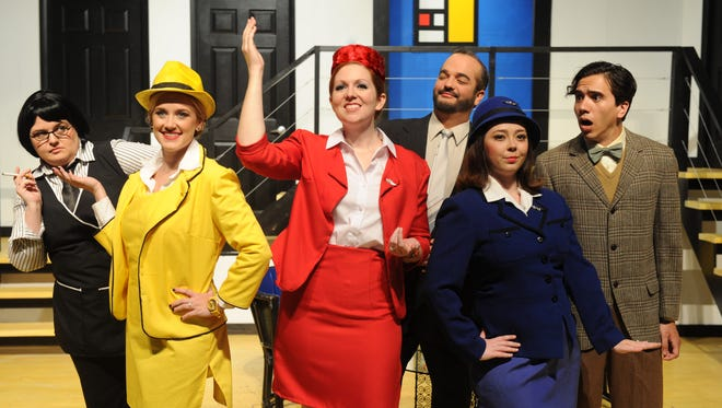 "From left to right: Berthe (Melissa Findley), Gretchen (Lacey Ritter), Gloria (Caroline Sturtz), Bernard (Ken Catullo), Gabriella (Samantha Algaze), and Robert (Melbin Borerro III) round out the cast of ""Boeing, Boeing."""