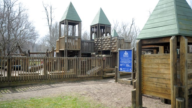 Kidzville playground was built by community and corporate donations. Volunteers are sought to help rebuild it.