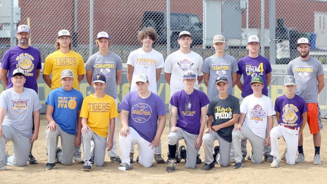 PILOT GROVE BASEBALL TEAM (front row, left to right) Gage Young, Tate Rentel, Hayden Sleeper, Justin Lawrence, Levi Jeffries, Waylan Christy, Alec Schupp and Hank Zeller. (back row, left to right) Head coach Joe Vossler, Bailey Quint, Luke Kollmeyer, Isaiah Quick, Bo Vinson, Hayden Krumm, Dylan Schupp and Grant Fricke, assistant coach. Not pictured are Dalton Reuter, Dade Christy and Jefferson Day.
