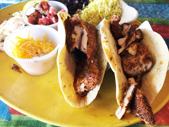 The Caribbean fish tacos at Snook Inn.
