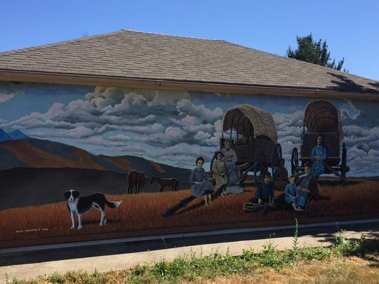 The Oregon Trail mural located in Bethany on the west