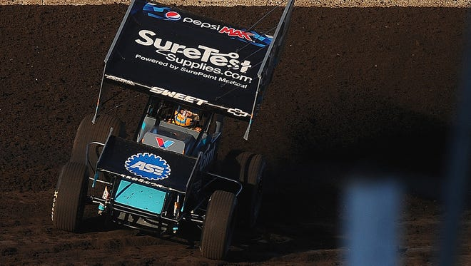Brad Sweet won one of the two feature events when the World of Outlaws last raced at Huset's Speedway in 2016.