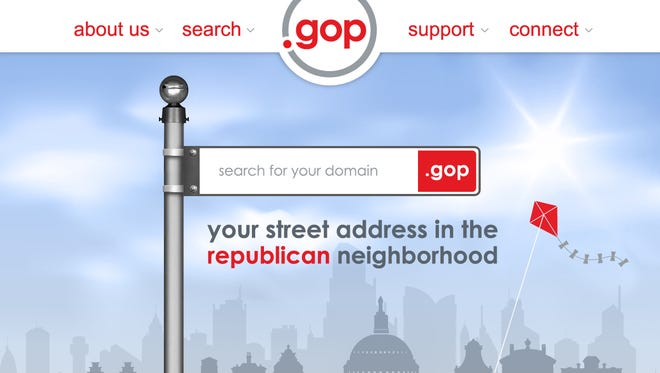 Screen shot of the .gop registry page.