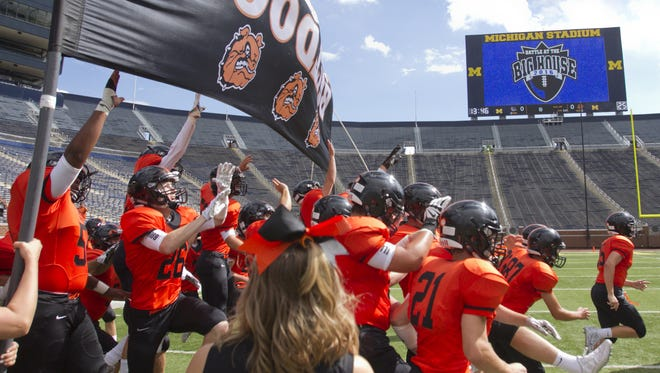 Brighton, which opened its 2016 season at Michigan Stadium, will return there to face Belleville at 7 p.m. Thursday.