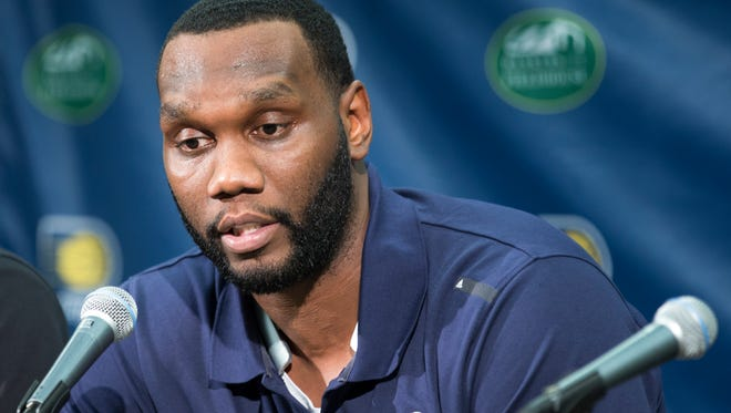 Al Jefferson, at a press conference to announce new players, Bankers Life Fieldhouse, Indianapolis, Friday, July 8, 2016.