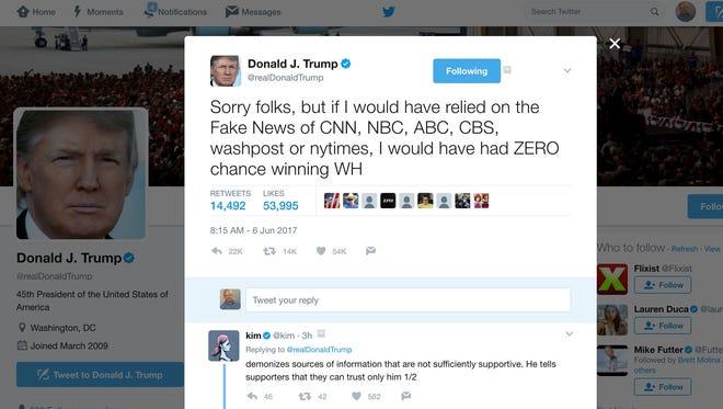 A screenshot of President Trump's @realDonaldTrump Twitter page.