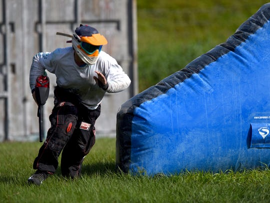 Players in the Developmental Paintball League participate in a paintball tournament Sunday, Nov. 8, 2015 at Extreme Rage Paintball Park in Fort Myers, FL.