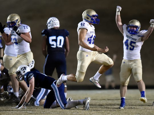 Brentwood kicker Tucker Day (42) celebrates after kicking the game-winning field goal against Centennial on Nov. 18, 2016. Brentwood won 24-21.