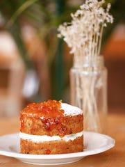 The mandarin cake dessert dish at the Half Peach Bakery and Cafe. Feb. 6, 2017