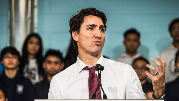 Canadian Prime Minister Justin Trudeau speaks to media