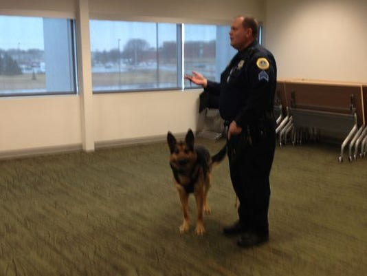 Des Moines Police Sgt. Mark Miller and his K-9 Emir demonstrate tracking skills