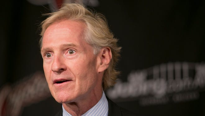 Coyotes General Manager Don Maloney addresses the media after agreeing to terms on a long-term contract extension with head coach Dave Tippett.