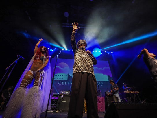George Clinton plays the grand opening of Funk 'n Waffles.