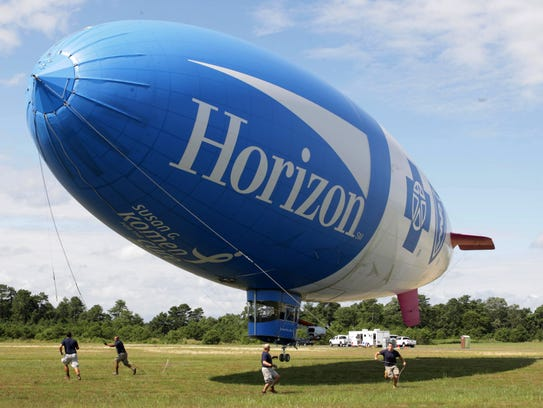 The Horizon blimp lands at Monmouth Executive Airport