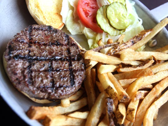The AJ's burger served at AJ's Burgers in New Rochelle.