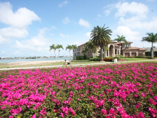 File: A lone rider in Tour de Marco enjoys the beauty of Marco Island in the estates area, with lots of colorful bougainvillea along the roadside.