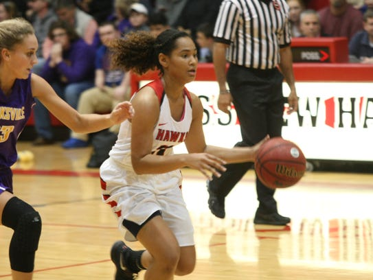 Photo 3: Rossview guard Karle Pace sprints past Hannah
