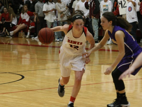 Rossview's Macy Rippy tries to drive past a Clarksville