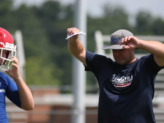 Montgomery Central coach Jeff Tomlinson reacts to a