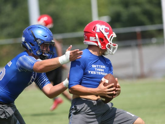 A Waverly defender touches a Montgomery Central receiver