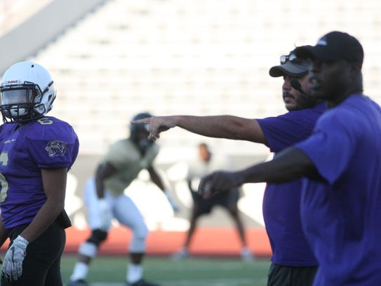 Clarksville High coaches Isaac Shelby and Jay Bailey
