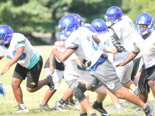 Fort Campbell players go through practice in August.
