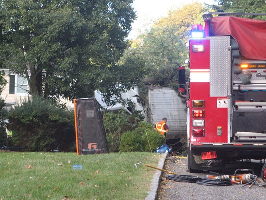 A tractor-trailer veered off Interstate 287 and the