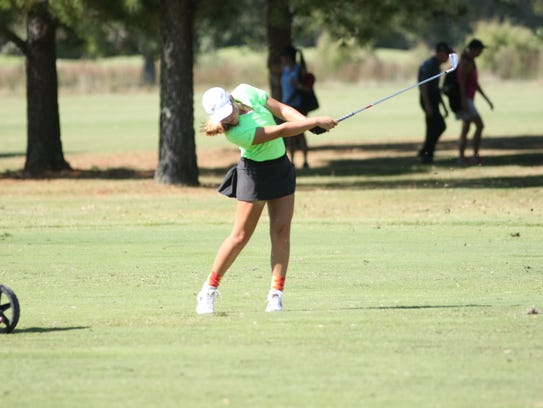 Rossview's Catherine Caudill takes a swing on the 18th