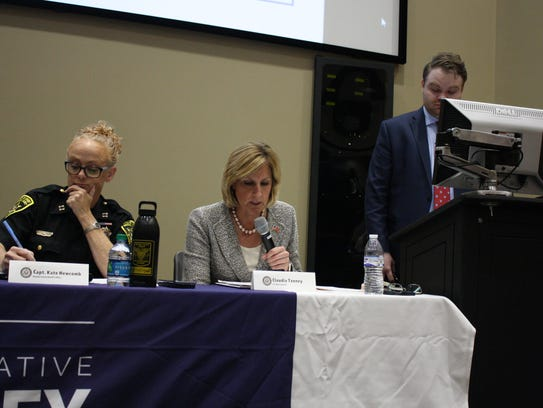 Rep. Claudia Tenney, center, hosted an opioid and heroin