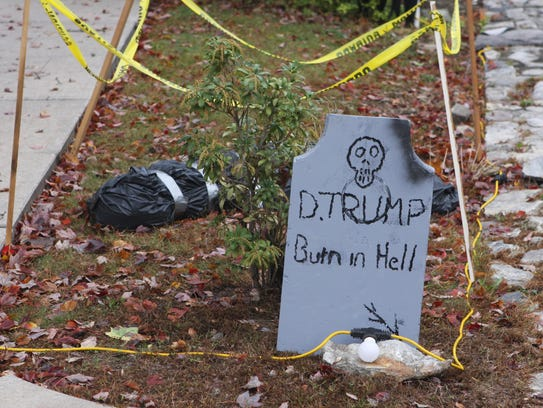 A Donald Trump Halloween display on Cross Lane has