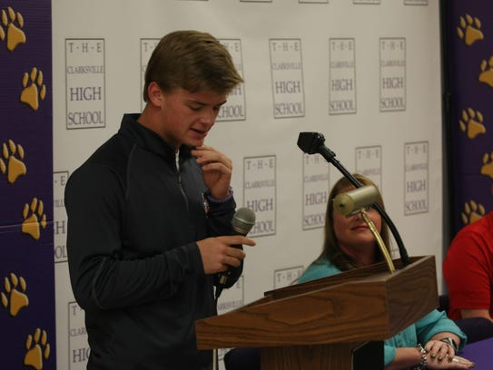 Garrett Spain gives his Thank You's during his signing