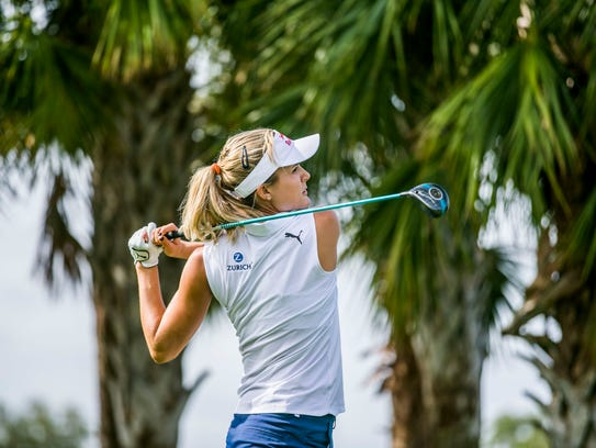 LPGA Tour star Lexi Thompson tees off during the Immokalee Charity Classic Pro-Am at The Old Collier Golf Club on Monday.