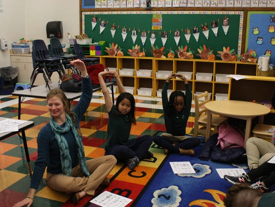 Heather Shaffer leads students in St. James Middle