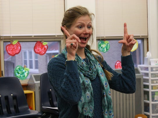 Heather Shaffer teaches students at St. James School's
