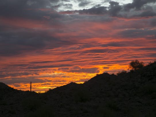 Sunrise as seen along the Quartz Mine Trail in the