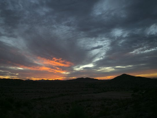 Sunset as seen along the Saddle Trail in the Estrella