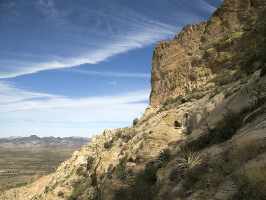 The view looking out from Picketpost Mountain in Tonto