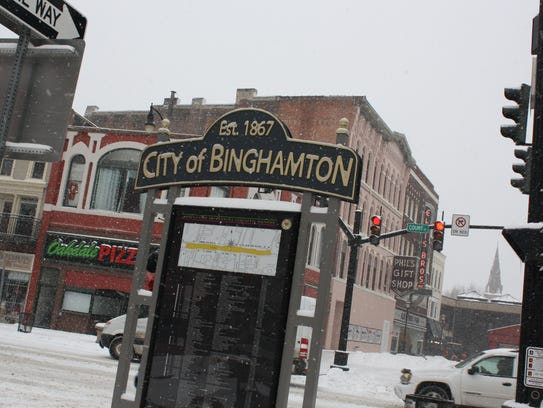 Downtown Binghamton was blanketed in snow after the