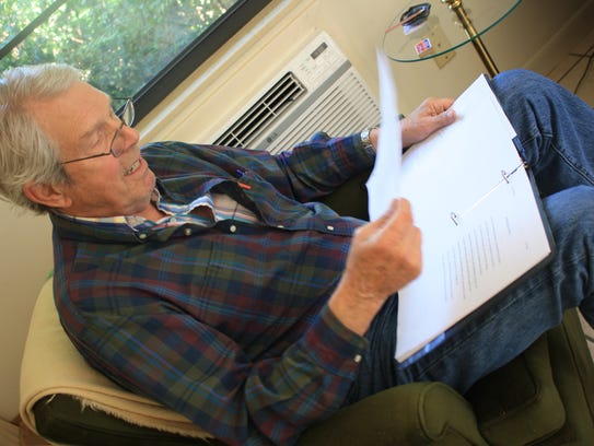 George Ireland rehearses Peter Myers' poetry for the