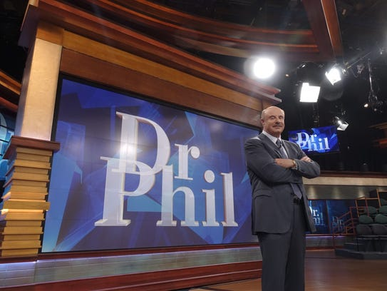 TV's Dr. Phil on the set of his TV talk show.