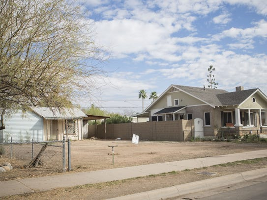 A vacant lot is pictured in the Coronado Historic District