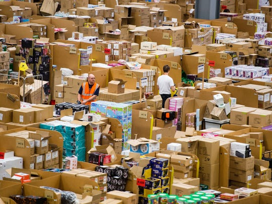 The Amazon Fulfilment Center in Hempsted, England, prepares for Black Friday in 2015.