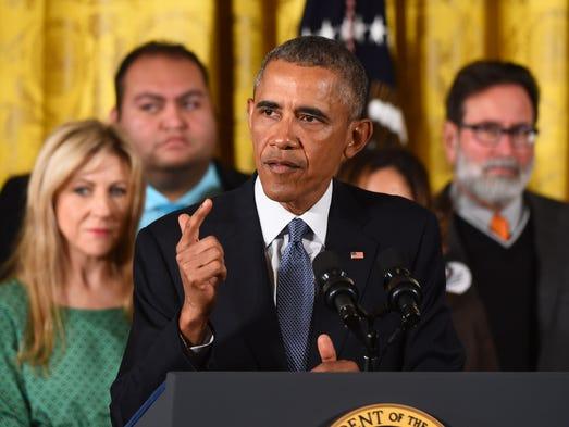 President Barack Obama delivers a statement on executive