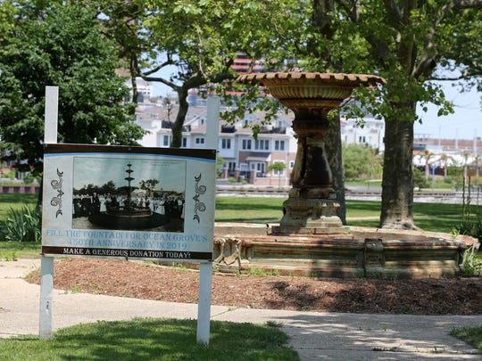 Ocean Grove historian Ted Bell of Ocean Grove talks about the Fountain of  Hope at Founders Park, which will be restored to its original 17-foot 1907 splendor in time for next summer's 150th anniversary of Ocean Grove's founding, in Ocean Grove, NJ Thursday June 7, 2018.