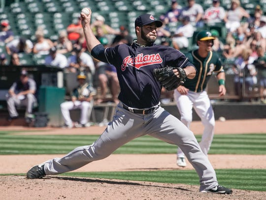 Jun 30, 2018; Oakland, CA, USA; Cleveland Indians relief