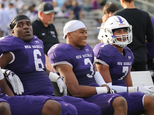New Rochelle's Jared Baron, Myles Taylor and Lloyd King during their game against Clarkstown North in New Rochelle, Oct. 21, 2017.